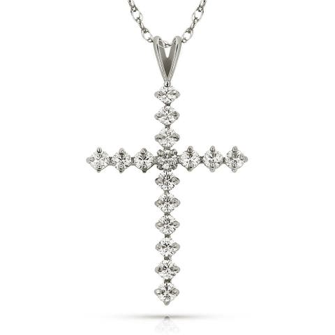 Curata 14k Yellow or White Gold 16-inch Round Cubic Zirconia Tailored Cross Pendant Necklace (20mm x 38mm)