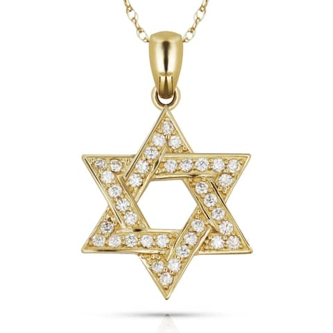 Curata 14k Yellow or White Gold 16-inch Round Cubic Zirconia Jewish Star of David Pendant Necklace (15mm x 22mm)