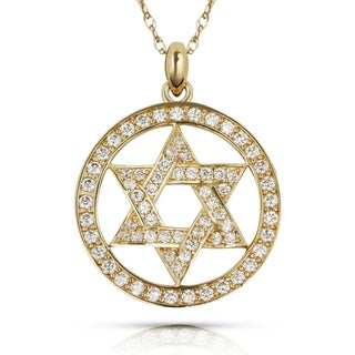 Curata Solid 14K Gold 16-inch Cubic Zirconia Jewish Star of David Circle Necklace (20mm x 25mm) (yellow or white)