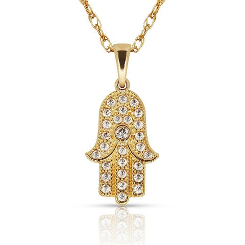 Curata Solid 14K Gold 16-inch Cubic Zirconia Small Hamsa Hand of God Pendant Necklace (7mm x 16mm) (yellow or white)