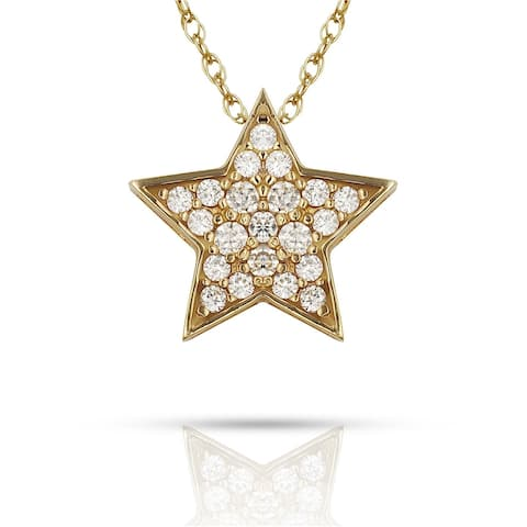 Curata Solid 14K Gold 16-inch Pave Cubic Zirconia Floating Star Necklace (12mm x 12mm) (yellow or white)