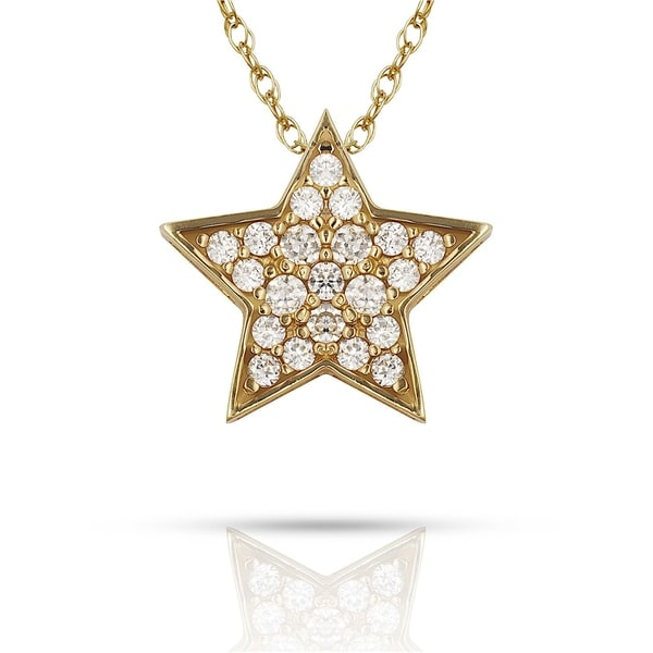 1991214b3f201 Curata Solid 14K Gold 16-inch Pave Cubic Zirconia Floating Star Necklace  (12mm x 12mm) (yellow or white)