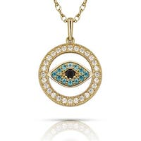 Curata Solid 14K Gold 16-inch Blue Cubic Zirconia Small Evil Eye Pendant Necklace (12mm x 16mm) (yellow or white)