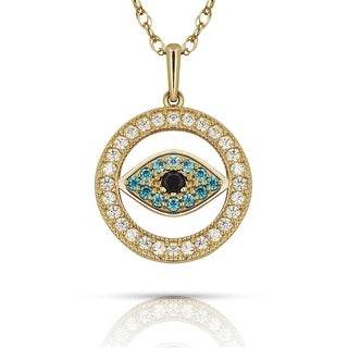Curata Solid 14K Gold 16-inch Blue Cubic Zirconia Small Evil Eye Pendant Necklace (12mm x 16mm) (yellow or white) (2 options available)