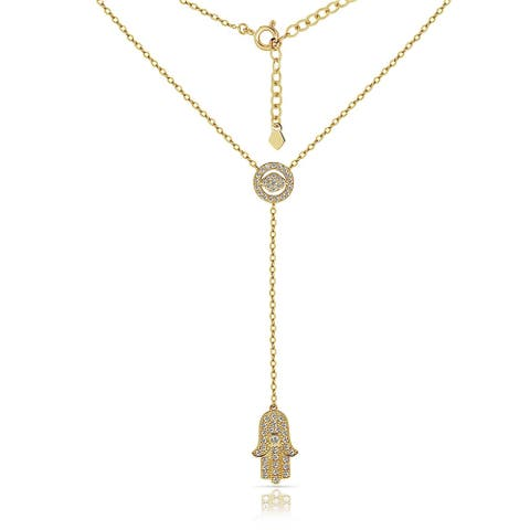Curata Solid 14K Gold 16-inch Cubic Zirconia Evil Eye and Hamsa Lariat Necklace (yellow or white)