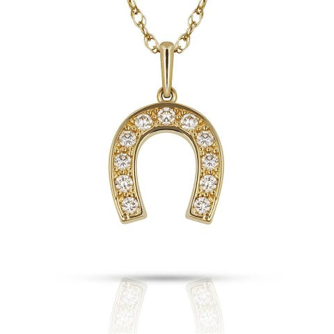 Curata Solid 14K Gold 16-inch Cubic Zirconia Small Horse-shoe Pendant Necklace (10mm x 15mm) (yellow or white)