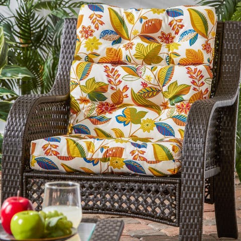 Dana Point 3-section Outdoor Floral High Back Chair Cushion by Havenside Home - 22w x 44l