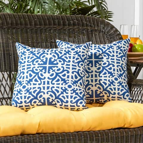 Coopers Indigo Outdoor 17-inch Accent Pillow (Set of 2) by Havenside Home - 17w x 17l
