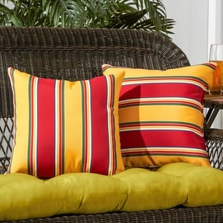 Link to Elminton Stripe Outdoor 17-inch Accent Pillow (Set of 2) by Havenside Home - 17w x 17l Similar Items in Outdoor Cushions & Pillows