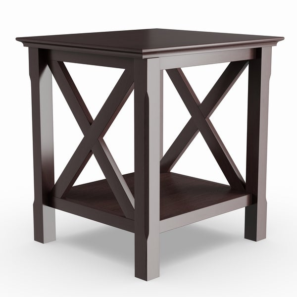 Porch & Den Melwood Cappuccino Wood Home Decorative X-design End Table