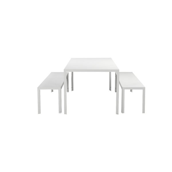 Immaculately Contemporary Anodized Aluminum Table And Bench Set In White (Set of 3)