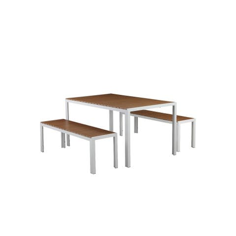 Plain And Contemporary Anodized Aluminum Table And Bench Set In White (Set of 3)