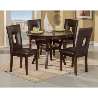 5 Piece Rubberwood Dining Set With Table And 4 Chairs Brown