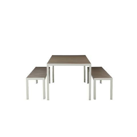 Straightforwardly Trendy Anodized Aluminum Table And Bench Set In Gray (Set of 3)
