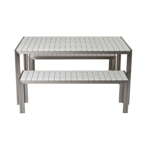 Straightforwardly Trendy Anodized Aluminum Table And Bench Set In White (Set of 3)