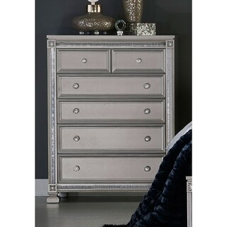 Modern Style Silver Wood 6-drawer Chest