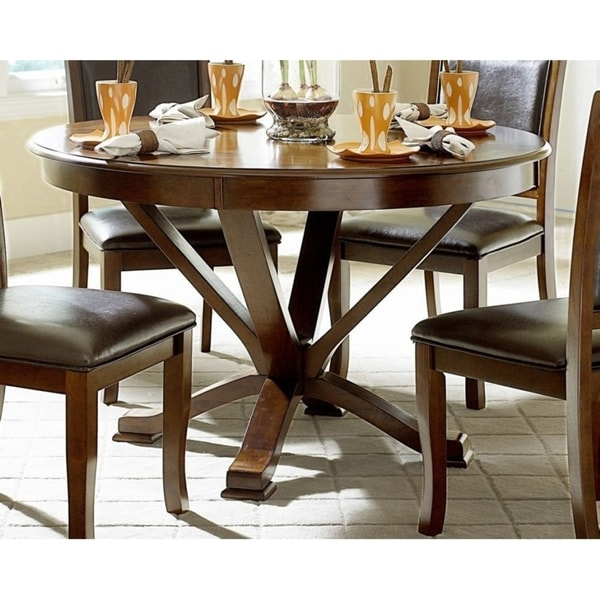Wooden Round Dining Table With Curved Legs Cherry Brown Free Shipping Today 21809192
