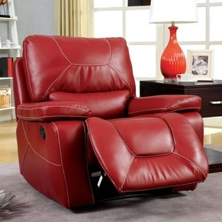 Leatherette Upholstered Contemporary Glider Recliner With Contrast Stitching, Red