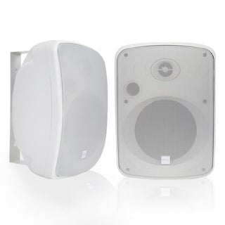 Pyle Dual 6.5 Wall-Mount Marine Speakers, Waterproof Rated Speaker System with Bluetooth + Wireless RF Streaming, 1000W White