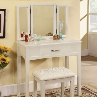 Pearl White Transitional Vanity Table With A Stool, White Finish