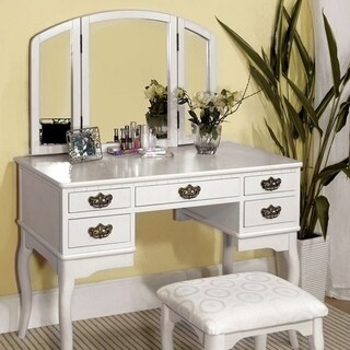 Elegant Traditional Vanity Table With Multiple Drawers And A Stool, White Finish