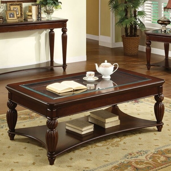 Traditional Glass Insert Coffee Table With Carved Turned Legs, Dark Cherry  Brown