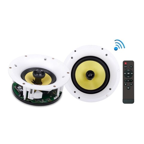 Pyle PDICWIFIB52 Home In-Wall / In-Ceiling Speakers with Built-in Bluetooth, WiFi Wireless Music Streaming (5.25, 240 Watt)