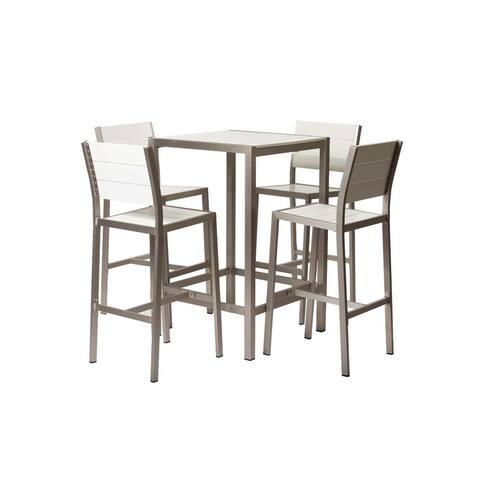 Handsomely Modish Anodized Aluminum 5piece Bar Set, White