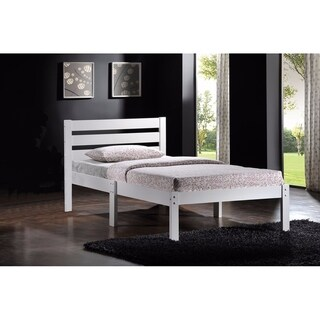 Contemporary Style Twin Bed With Wooden Slatted Headboard, White