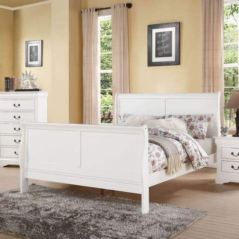 Classy Transitional Style Queen Size Sleigh Bed, White