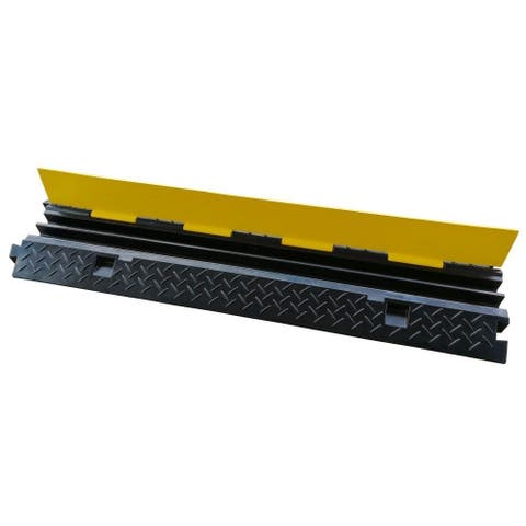 Pyle PCBLCO103 Cable Protector Cover Ramp - Cord/Wire Safety Concealment Track with Flip-Open Access Lid (Dual Channel Style)