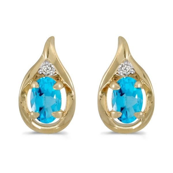 14k Yellow Gold Oval Blue Topaz And Diamond Earrings Free Shipping Today 21811283