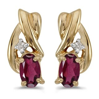 14k Yellow Gold Oval Rhodolite Garnet And Diamond Earrings