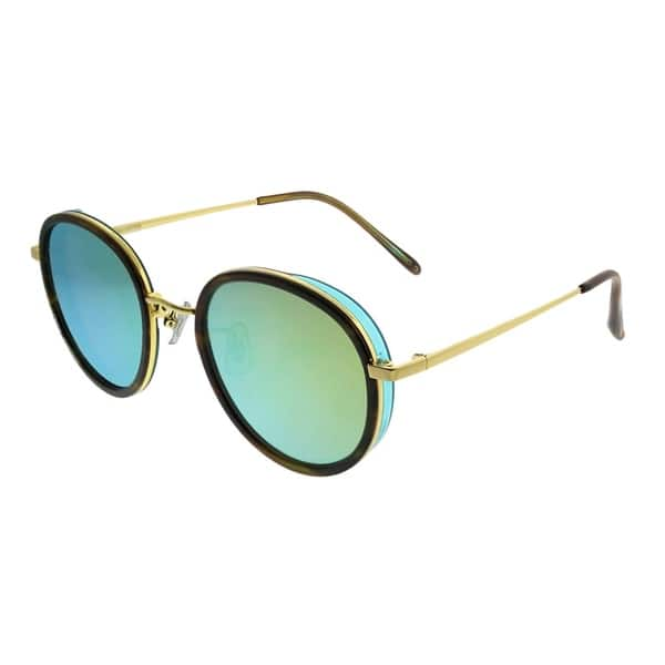 7883b12c9 Gentle Monster Round Future Is Past 2 H2(M) Women Brown Gold Frame Green  Mirror Lens Sunglasses