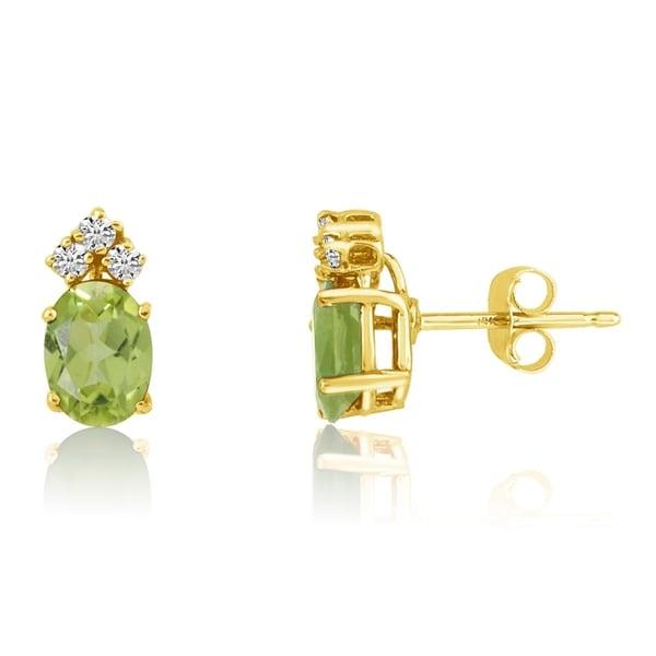 14k Yellow Gold Oval Peridot Earrings With Diamonds