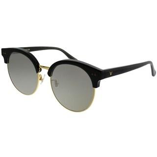 Gentle Monster Round MoonCut 01(2M) Women Black Gold Frame Gold Mirror Lens Sunglasses