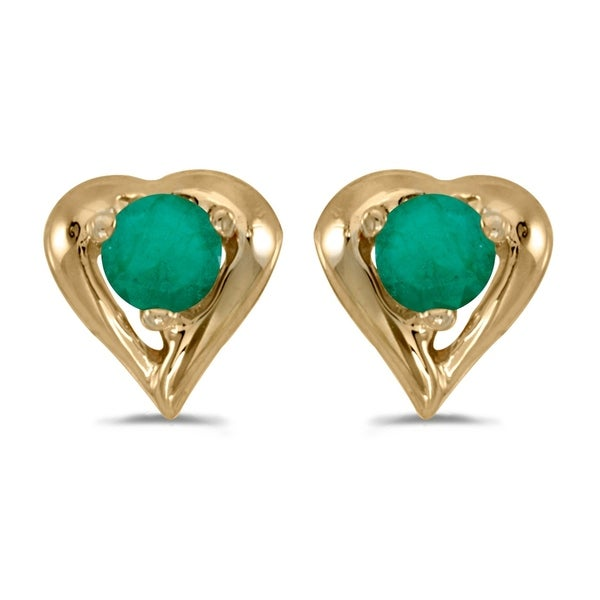 14k Yellow Gold Round Emerald Heart Earrings