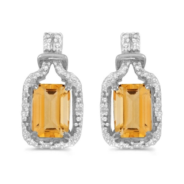 6a2baaace Shop 14k White Gold Emerald-cut Citrine And Diamond Earrings - Free  Shipping Today - Overstock.com - 21812318