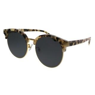 Gentle Monster Round MoonCut S3GD Women Beige Havana Gold Frame Grey Lens Sunglasses