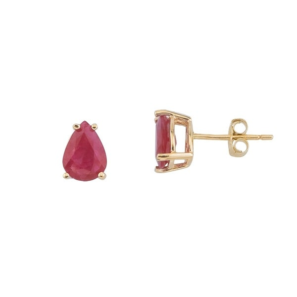 14k Yellow Gold Pear Shaped Ruby Earrings