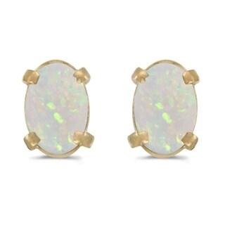 14k Yellow Gold Oval Opal Earrings