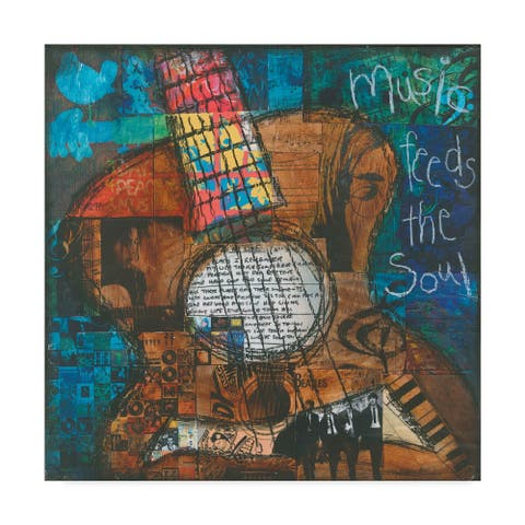Jennifer Mccully 'Music Feeds The Soul - Guitar' Canvas Art - Multi-color