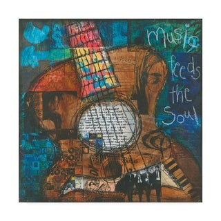 Jennifer Mccully 'Music Feeds The Soul - Guitar' Canvas Art - Multi-color (4 options available)