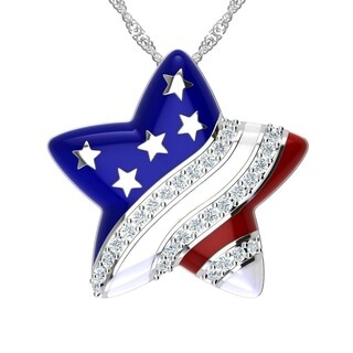 Independence Day American flag Brass Star White Cubic Zirconia Necklace with 18 Inch Chain