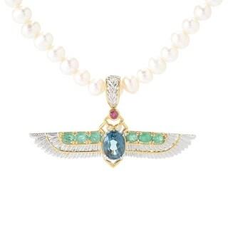Michael Valitutti Palladium Silver Multi Gemstone & Pearl Beaded Pendant