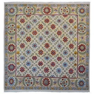 """FineRugCollection Hand Made Fine Tribal Oriental Rug - 9'1"""" x 9'1"""""""