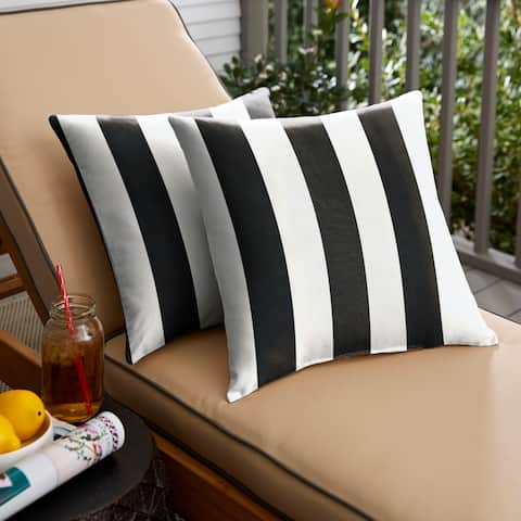 Black Stripe Indoor/ Outdoor Square Pillow, Set of 2