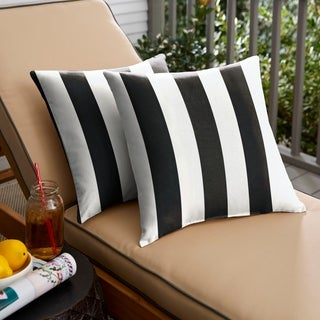 Black Stripe Indoor/ Outdoor Square Pillow, Set of 2
