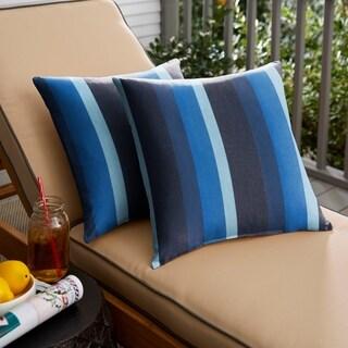 Sunbrella Indigo Blue Stripe Indoor/ Outdoor Square Pillow, Set of 2