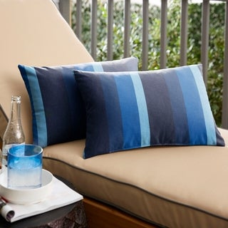 Sunbrella Indigo Blue Stripe Indoor/ Outdoor Lumbar Pillow, Set of 2